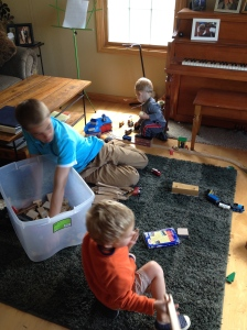 Playing Trains With Their Big Cousin and His Old Thomas Set.